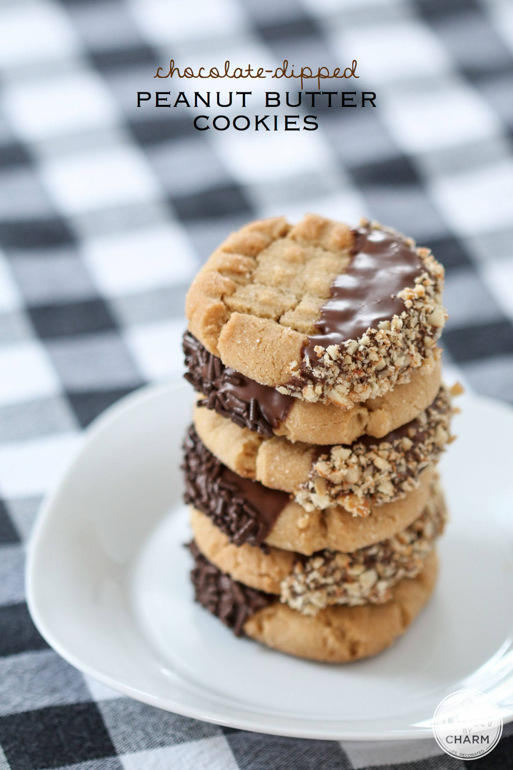 Chocolate-Dipped Peanut Butter Cookies | Inspired by Charm