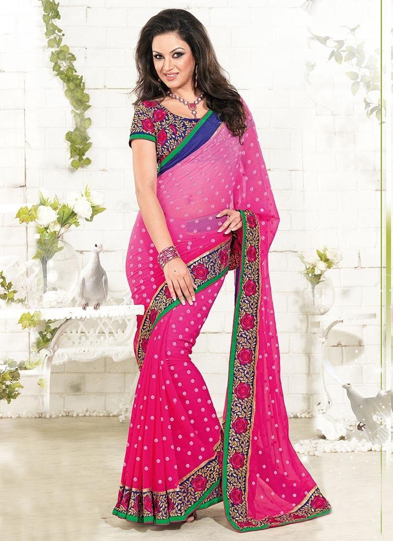 casual wear pink color good looking polka designed #georgette