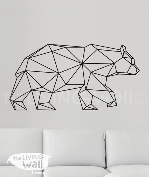 Geometric Bear Wall Decal Geometric Animals Decor Bear Wall Art - Vinyl wall decals australia