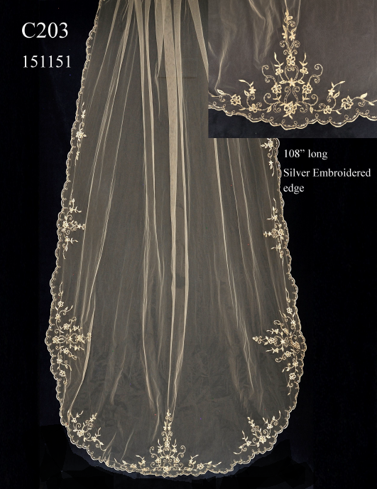 Beaded Silver Embroidery Cathedral Length Wedding Veil C203