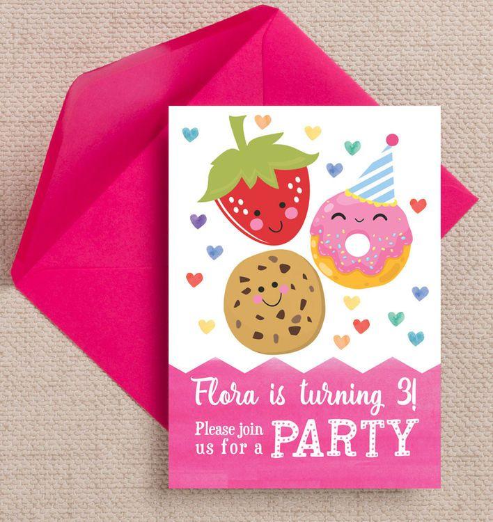 Cute Kawaii Donut, Cookie & Strawberry Party Invitation | Kids ...