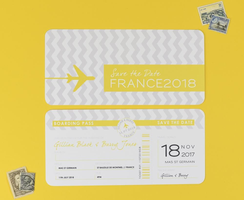 chevron grey and yellow save the date airline ticket with tear off