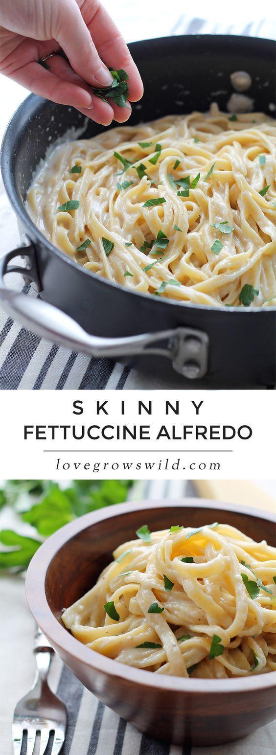 Skinny Fettuccine Alfredo - Creamy Cheesy Pasta That Is -2572