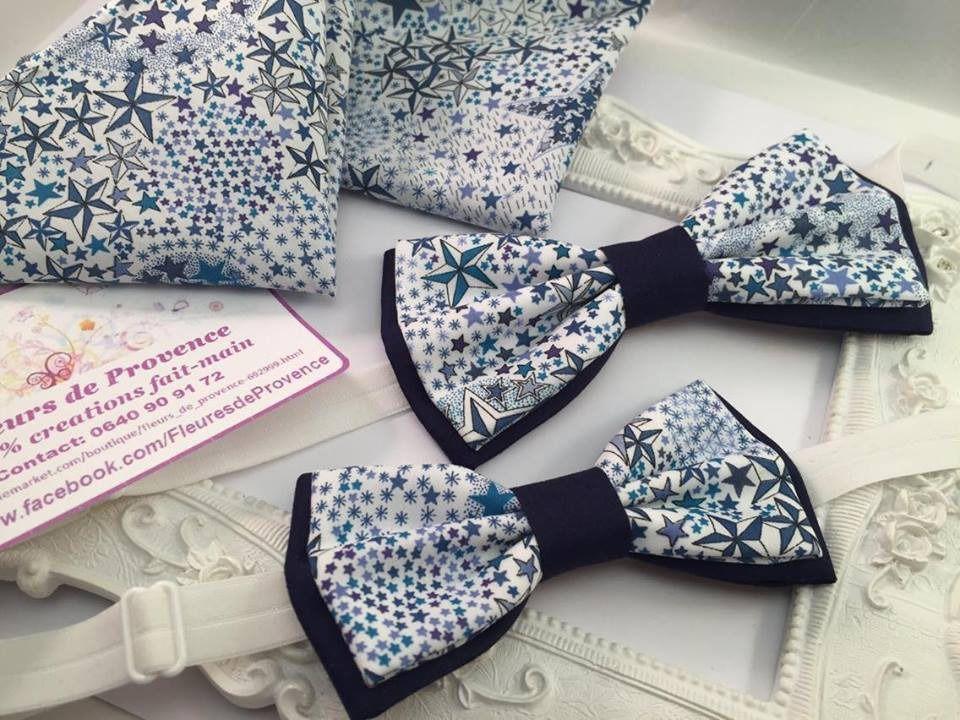 SET Noeud Papillon double Tissu Liberty Adelajda bleu et Pochette ...