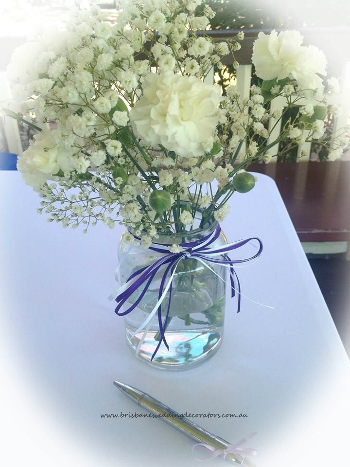 Baby Breath Signing Table Decor At A New Farm Wedding Styled By Brisbane Decorators