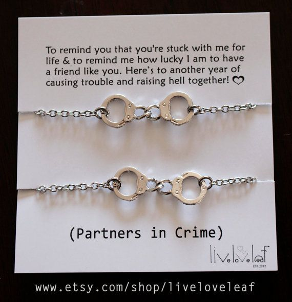 Partners In Crime Matching Rhodium Plated Handcuffs Bracelets Set Of Two Silver Handcuff Charm Bracelet Bff Jewelry Gift Idea
