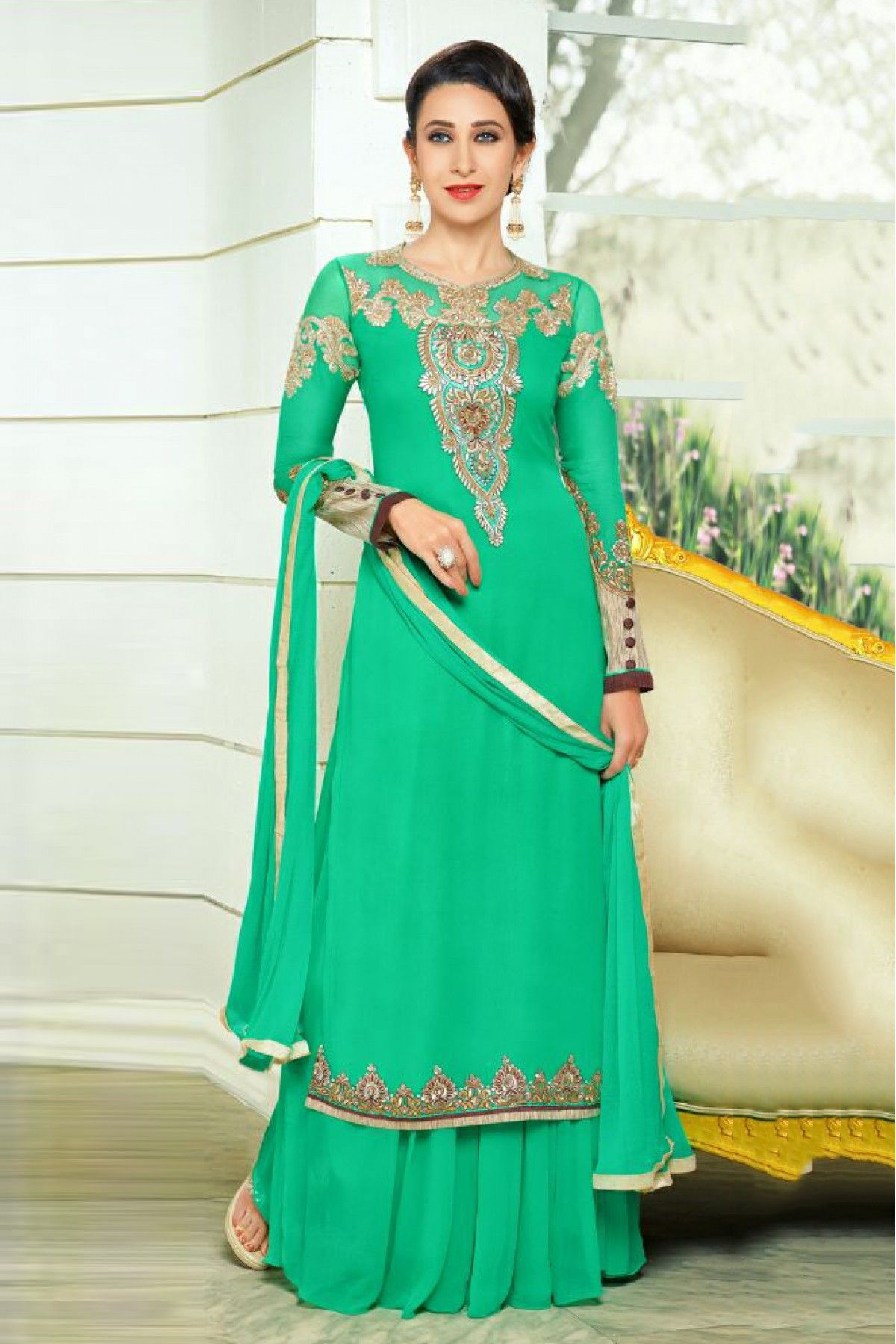 1eee526085 Sea Green Colour Georgette Fabric Designer Semi Stitched Anarkali Salwar  Kameez Comes With Matching Dupatta and Bottom Fabric. This Suit Is Crafted  With ...