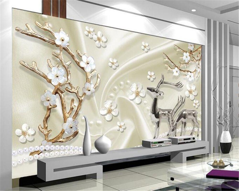 beibehang custom wall paper jewels metal elk 3d 3d living room
