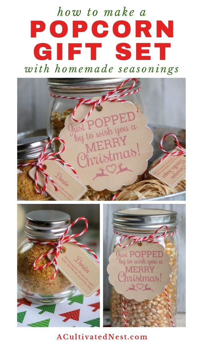 Homemade Popcorn Gift Set Diy Gift In A Jar A Cultivated Nest Recipe Popcorn Gift Diy Gifts In A Jar Diy Gift Set