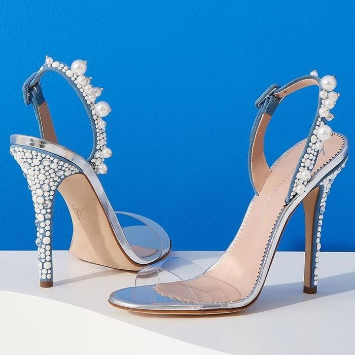Giuseppe Zanotti Plexi and suede sandal with pearls and crystals ELIZA MXvU0L