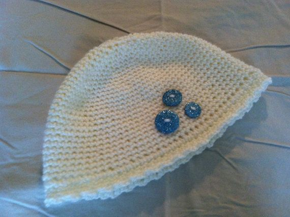 Ivory girl beanie with sparkling buttons by AtelierByTheSea, $12.00