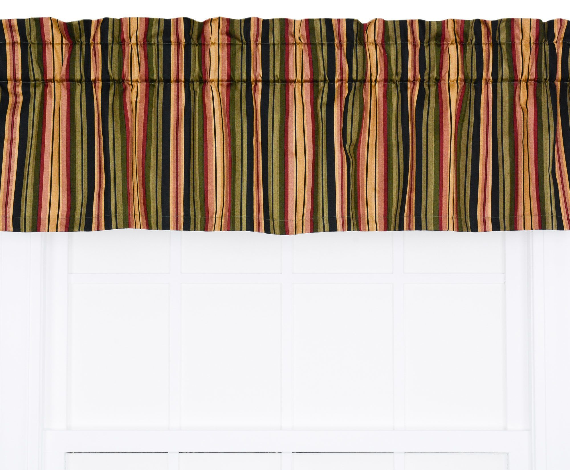 Leonard Medium Scale Stripe Print Tailored Curtain Valance