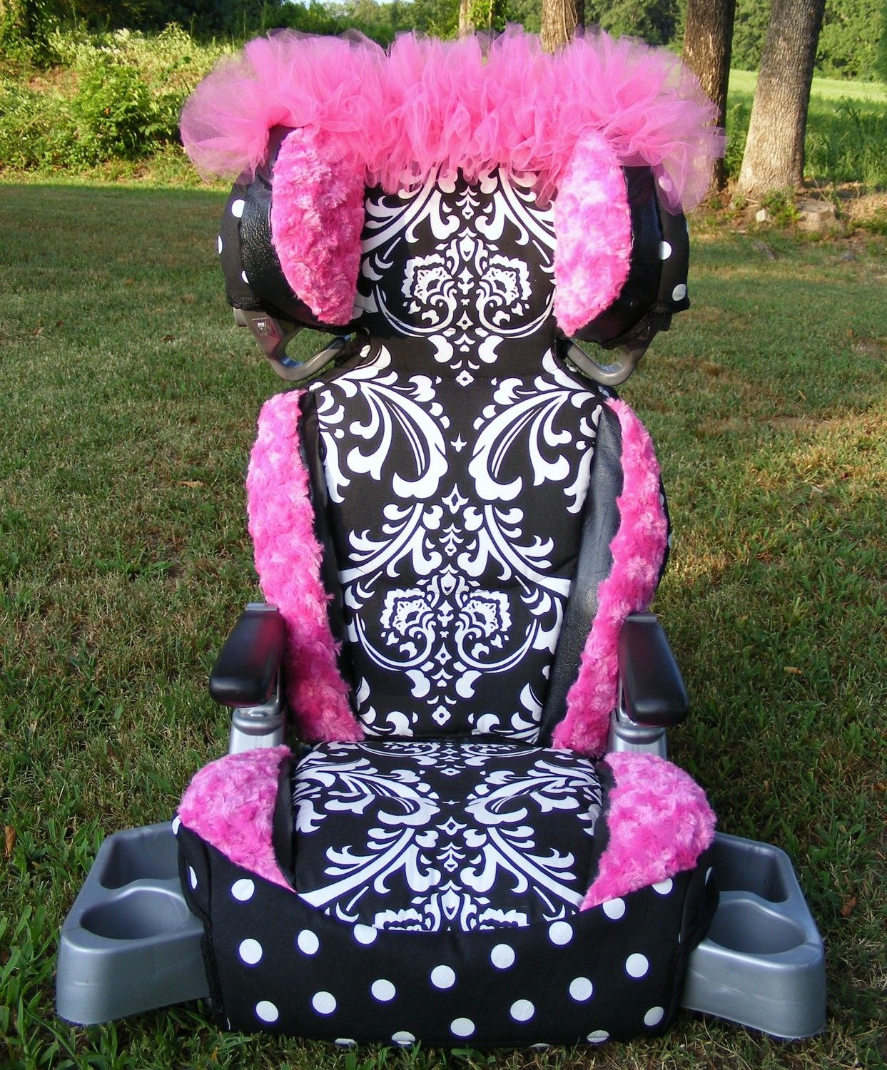 Reupholstered Car Seat Covers Damask Polka Dot Rose By Diaperbags 15000 Such A Great Idea As Usually All Seats And Most Strollers Are