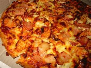BBQ chicken and bacon pizza <3