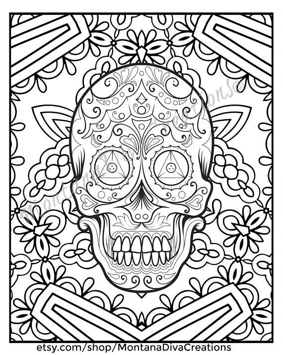 Sugar Skull Mandala Coloring Pages Immediate Digital Download Mandala Coloring Pages Skull Coloring Pages Coloring Pages