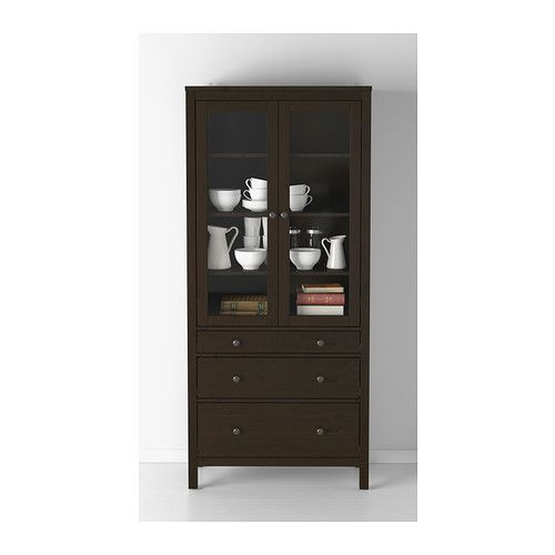 Moveable Solid Wood Ceramic Buffet Kitchen Sink Cabinet: HEMNES Glass-door Cabinet With 3 Drawers IKEA Solid Wood