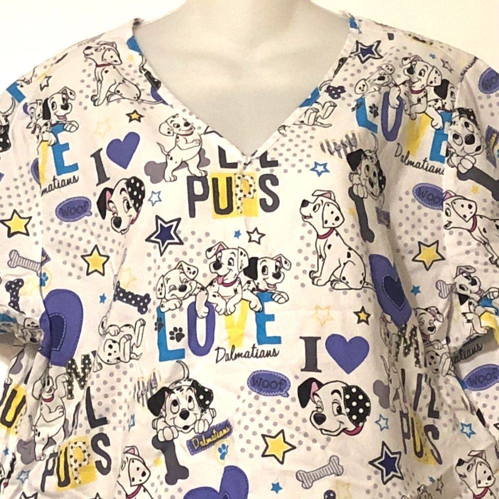 11d11f4f3a7 Disney 101 Dalmations Scrub Top XL Love Pups Dogs #Disney | Medical ...