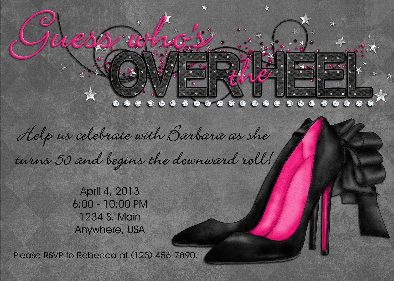 Over the Hill Invitation - Black, Pink, Bling, Over the Heel, Custom ...