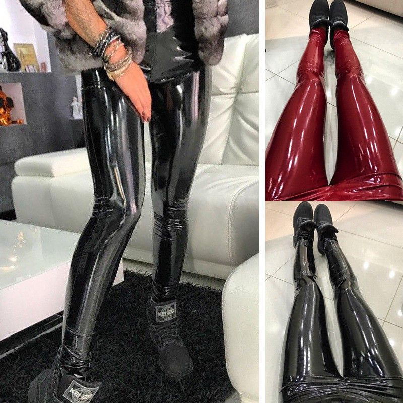 d3692ed3e3aff Women Shiny Vinyl Faux Patent Leather Stretch Leggings Wet Look PVC PU  Trousers