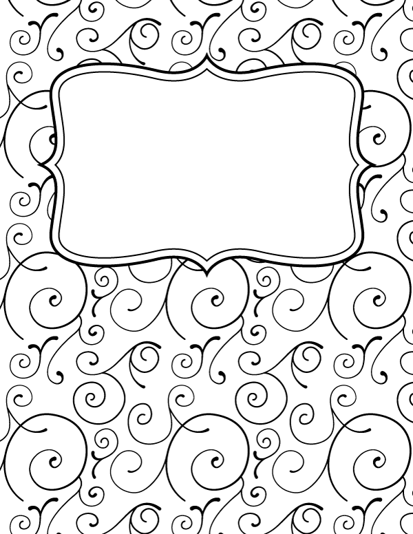 Free Printable Black And White Swirl Binder Cover Template Download The Cover In Jpg Or Pdf Forma Binder Cover Templates Binder Covers Binder Covers Printable
