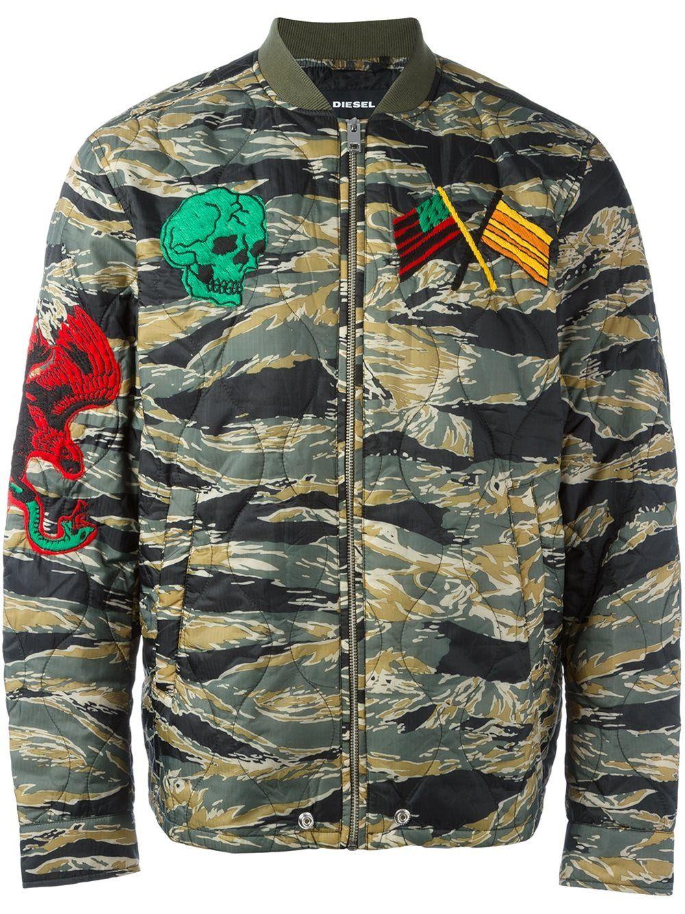Diesel W Camu Bomber Jacket Green Jacket Men Bomber Jacket Quilted Bomber Jacket [ 1334 x 1000 Pixel ]