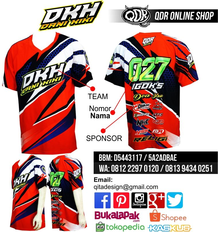 Jersey Drag Race Dkh Bahan Dry Fit Printing Sublimasi Untuk Pemesanan