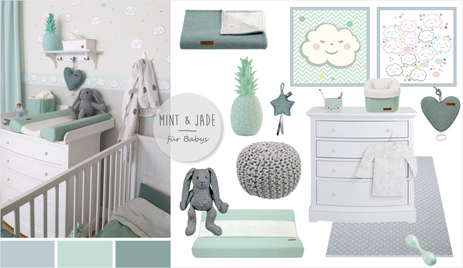 babyzimmer mit wolken in grau mint jade kids pinterest babyzimmer mint und wolke. Black Bedroom Furniture Sets. Home Design Ideas