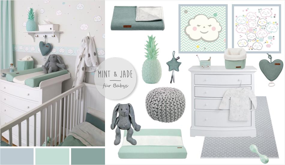 babyzimmer mit wolken in grau, mint & jade | baby | pinterest