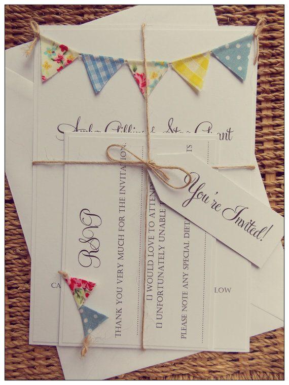 Rustic Summer Wedding Invitation Vintage Spring Unique and Quirky