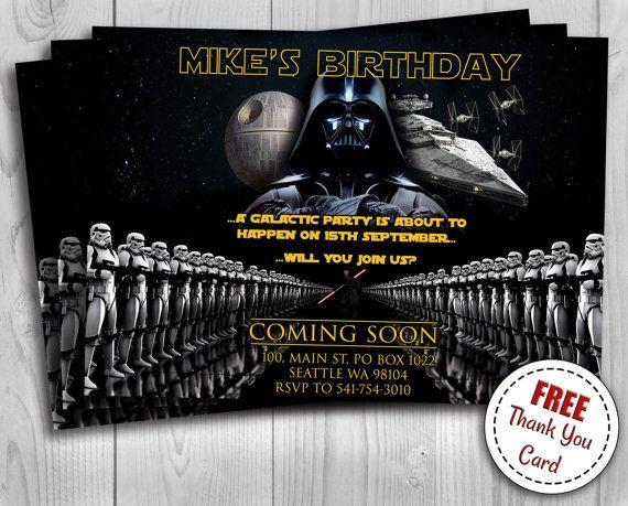 Star Wars Birthday Invitation With Photo Darth Vader Kylo Ren