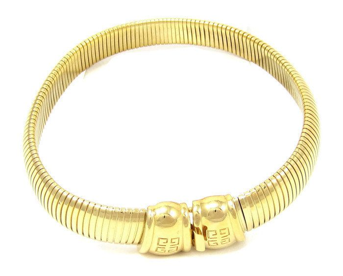 Modernist GIVENCHY Gold Omega Choker Necklace Thick Stretch Collar