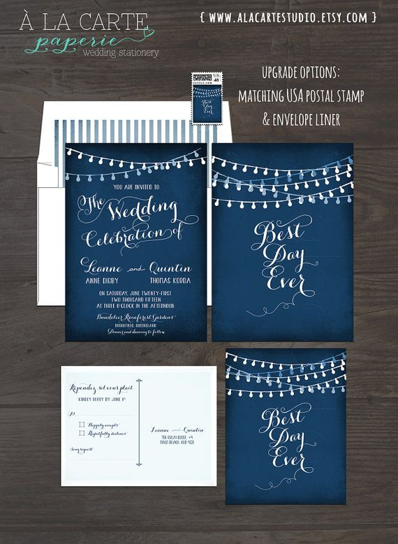 String Light Chalkboard Wedding Invitation Card and RSVP Best Day