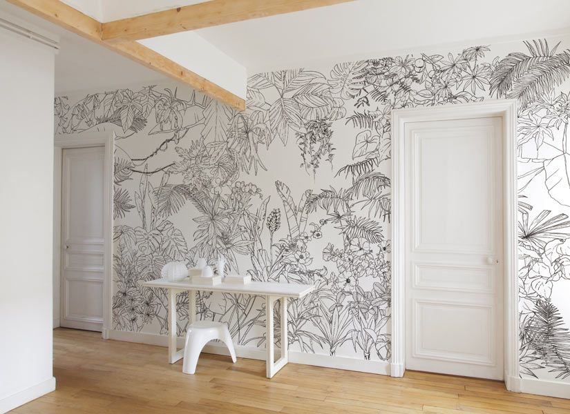 Papier peint jungle tropical noir et blanc big panoramique for Decoration murale blanc