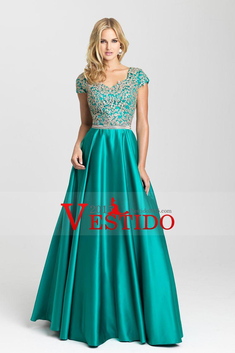 016150afa7 2016 Una Línea vestidos de baile V-cuello piso-longitud Satén manga corta  con apliques