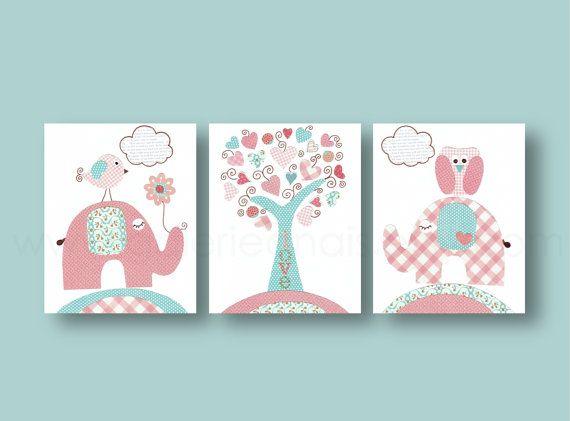 T rkis rosa kinder wand kunst baby kinderzimmer von galerieanais kinderzimmer kinderzimmer - Kinderbilder wand ...