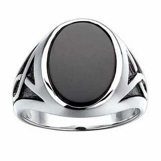 Mens Oval Onyx Ring in Sterling Silver