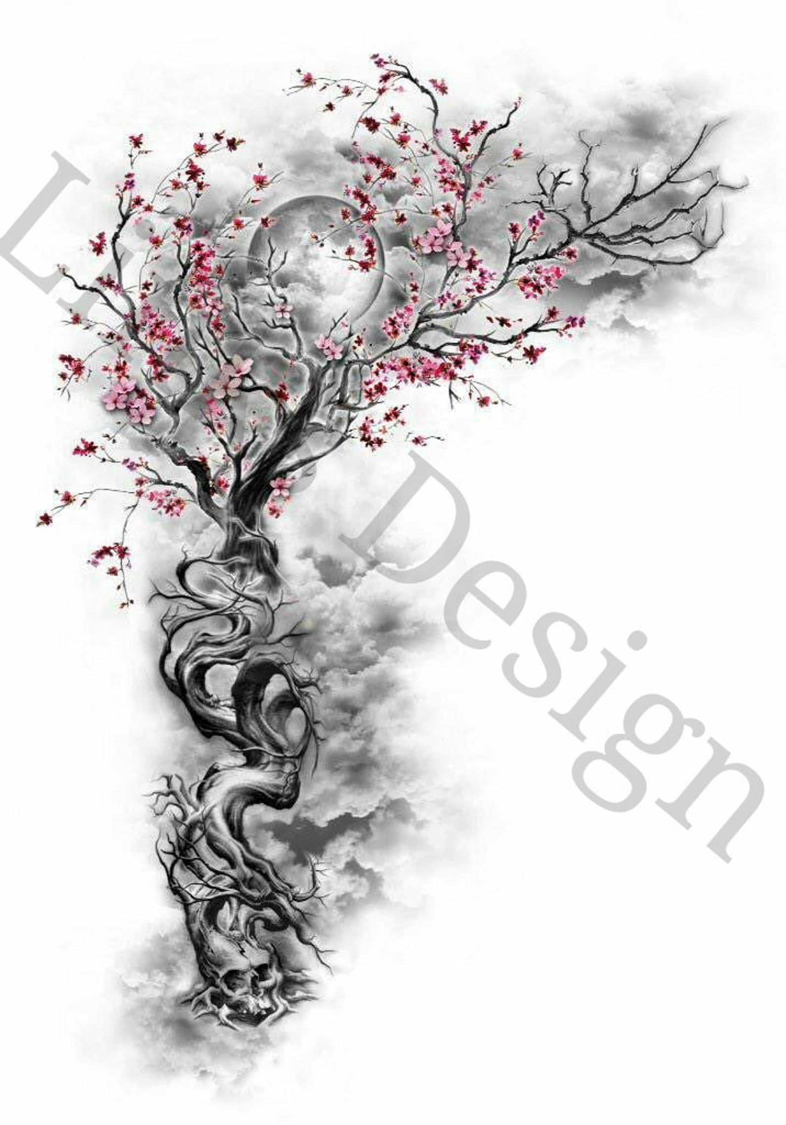 Rose Cherry Blossom Tree And Skull Waterslide Decal For Tumblers In 2021 Tattoos Tattoo Designs Sleeve Tattoos