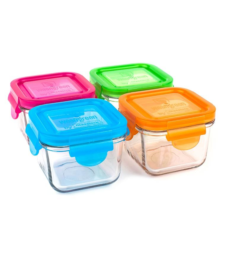 Wean Green's Snack Cubes tempered glass food storage