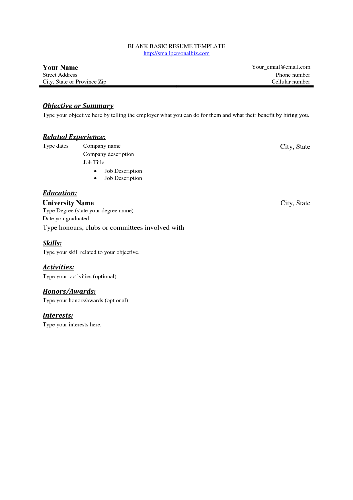 Free Basic Blank Resume Template  Free Basic Sample