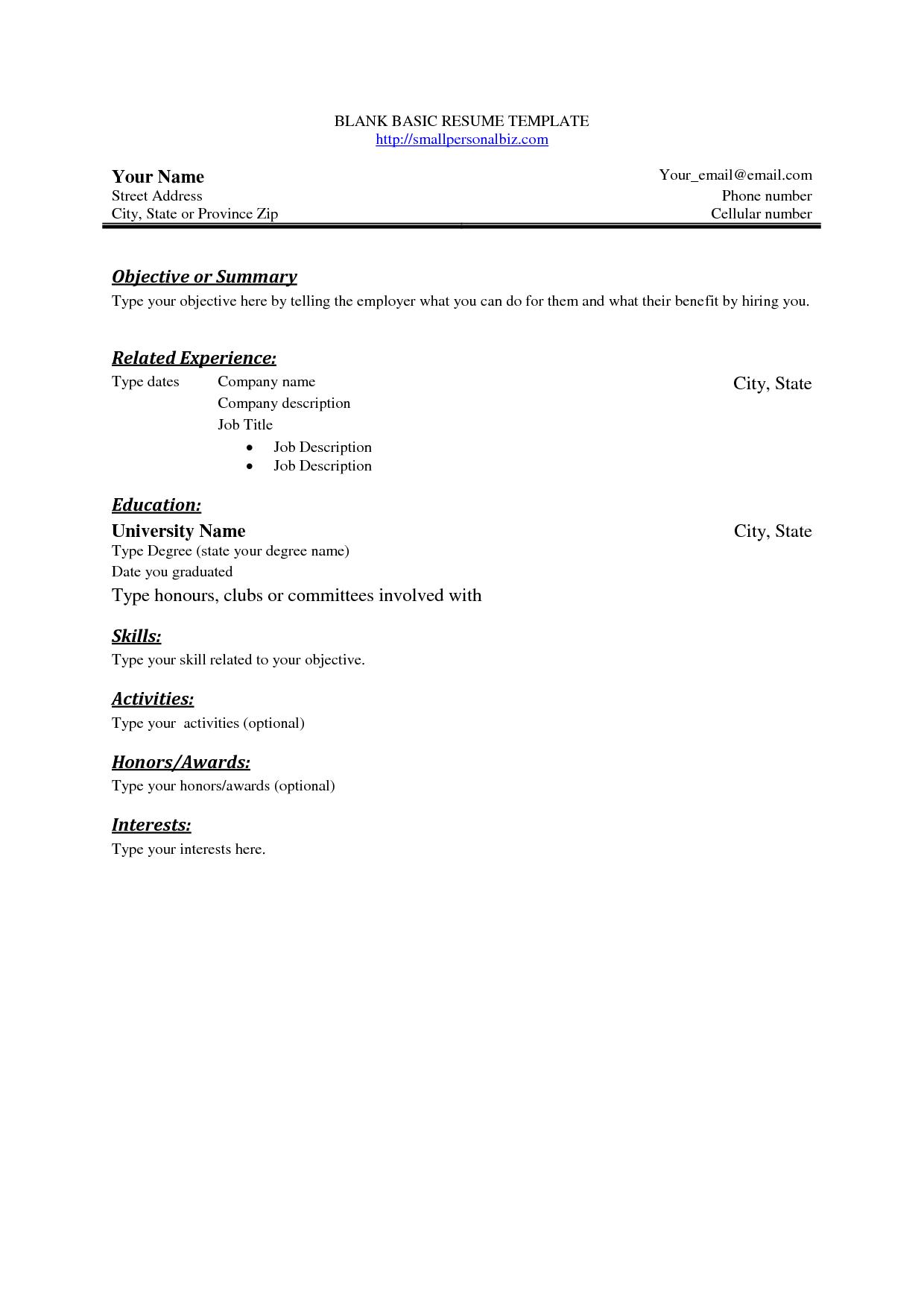 Free Basic Blank Resume Template Free Basic Sample Resume Basic Resume Basic Resume Examples Simple Resume Examples