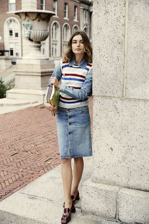 Midi Denim Skirt With Buttons - Dress Ala