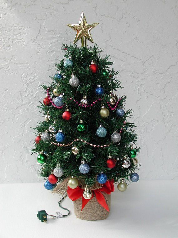 Miniature Christmas Tree Fully Decorated Tree 50 Color Lights
