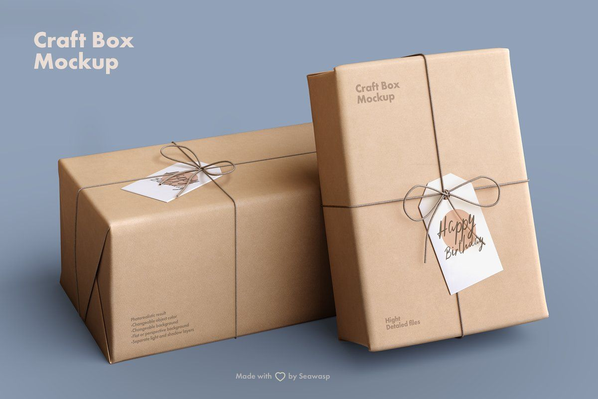 Download Craft Paper Giftbox Mockup Box Mockup Paper Crafts Bag Mockup