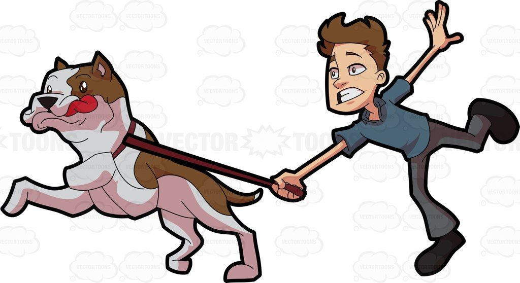 a man being pulled and carried away by an excited pet dog pet dogs