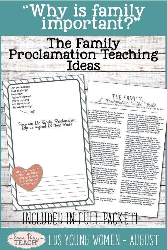 August Lds Young Women Lesson Packet Why Is Family Important