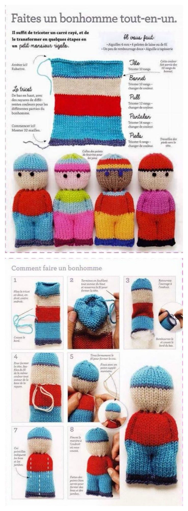 Photo of 2- page knit doll pattern W / finishing detail Crochet and knit