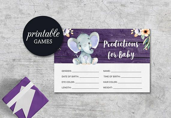 Baby Shower Card Printable ~ Predictions for baby elephant baby shower prediction card