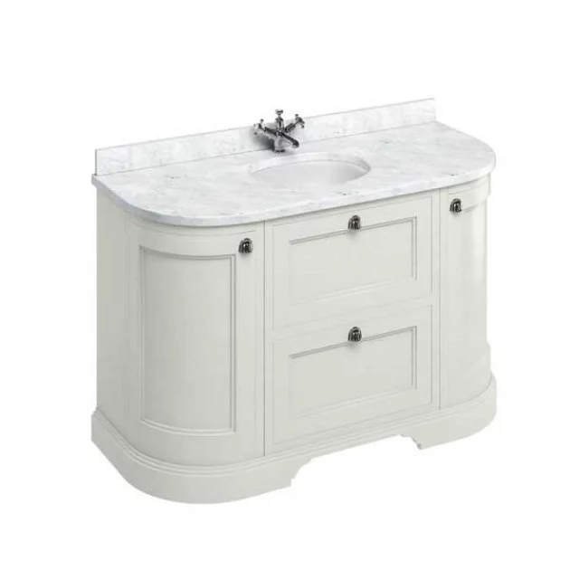 Burlington 134 Curved 2 Door Vanity Unit And Carrara White Basin 1300mm Wide Sand 0 Tap Hole In 2020 Freestanding Vanity Unit Vanity Units Traditional Bathroom Furniture