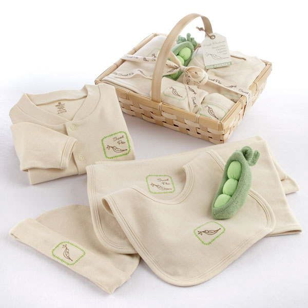 $50.00 Baby aspen goes green with an amazingly adorable, organic, five-piece layette set that makes sweet peas even sweeter! it all starts with a natural woven-wood basket filled with sweet peas. the graphic of a small, swaddled baby snuggled in half a pea pod appears on the blanket, pjs, cap and bib, and a green,sweet-pea pod rattle on top makes this magnificent baby gift ready for market! features and facts:soft-beige, organic layette set