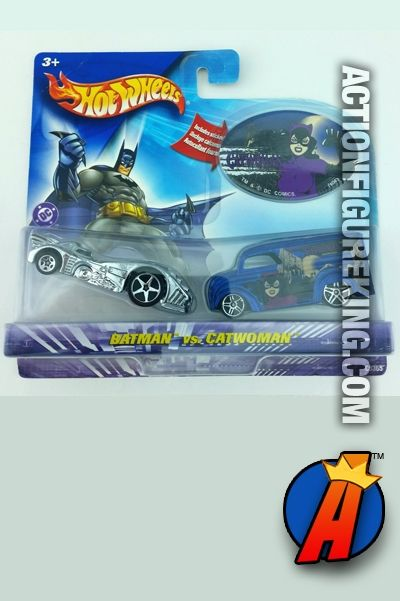DC Comics Batman versus Catwoman 1/64th die-cast vehicles from Hot Wheels circa 2006